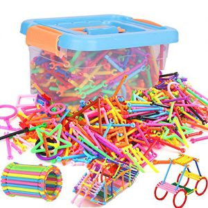 ITODA 300pcs Blocs de Construction en PP Bâton de Blocs Construction colorée 3D Jeux de Construction DIY éducatif et créatif avec différentes Formes Durable et Sécurité pour Enfants Plus de 3ans